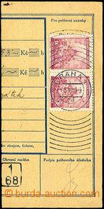 33906 - 1943 ústřižek peněžní poukázky vyfr. 2ks zn. 1K s per