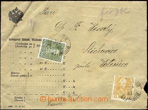 33978 - 1910 cenné psaní na 500K, vyfr. zn. vydání 1908, Mi.143, 148