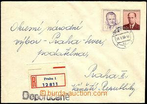 33980 - 1955 COB6  sent as Reg, uprated with stamp 1Kčs, Pof.734, C