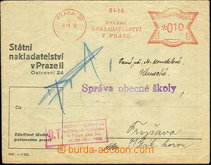 34021 - 1938 předištěná obálka s frankotypem Státního naklada