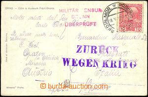 34027 - 1915 PŘERUŠENÁ DOPRAVA  ZURÜCK / WEGEN KRIG, fialové ra