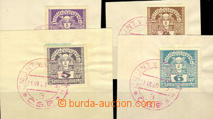 34094 - 1920 4 cut-squares with newspaper Austrian stamps (2, 4, 5,
