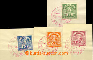 34095 - 1920 4 cut-squares with newspaper Austrian stamps (8, 12, 20