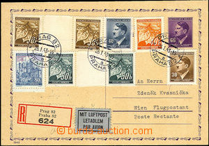 34106 - 1943 CDV16 sent registered and as Air-mail to Vienna to post