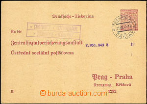 34108 - 1940 CUP1/II response part with postal agency pmk CHOTUSICE