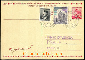 34112 - 1945 PC BOHEMIA-MORAVIA CDV12 with uprated with stamp 10h +