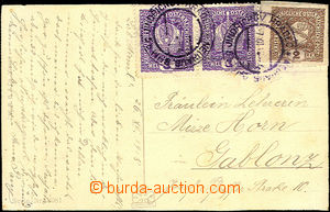 34140 - 1918 Picture postcard franked 2pcs. 3h Austrian Crown + 2ban