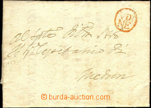 34153 - 1746 skládaný dopis s červeným razítkem UDINE, pečeť odlomen