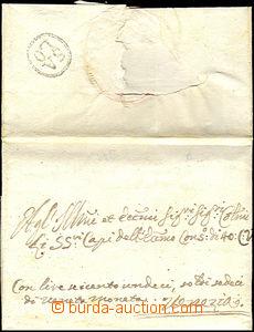 34154 - 1757 skládaný přebal vč. dopisu s černým razítkem na zadní s