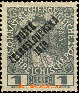 34186 -   	 Mi.139 1h gray not issued overprinted PČ 1919, without
