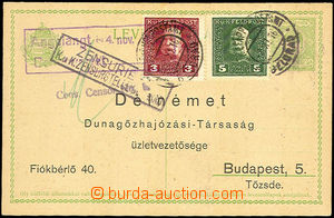 34258 - 1916 Hungarian PC 5f Mi.P34 with additional-printing Delném