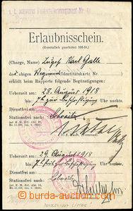 34272 - 1918 Erlaubnisschein - vacation card with line and round FP