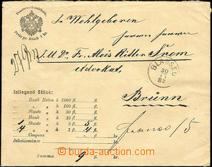 34282 - 1882 money letter for printed matter envelope cash paid/fran