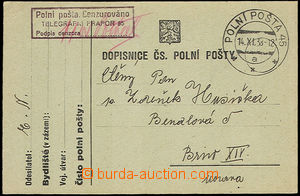 34388 - 1938 lístek PP s rámečkovým cenzurním raz. útvaru Tele
