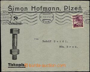 34405 - 1941 Hofmann, Plzeň - železářské zboží, prošlá obá
