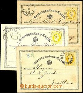34439 - 1871-75 comp. 7 pcs of yellow, Mi.P1, P3; nice CDS as Oberwo