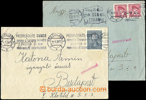 34447 - 1938 CENSORSHIP  comp. 2 pcs of letters  to Hungary with red