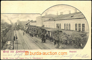 34534 - 1900 Břeclav - Lundenburg, train station, used. Good condit