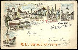 34558 - 1899 Trnava - Nagyszombat, color lithography., churches, squ