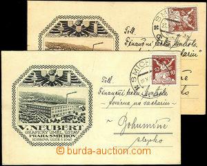 34643 - 1920 V.Neubert, Praha - grafický uměl. ústav, 2ks lístk�