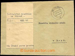 34670 - 1945 Directory prison Mírov  letter sent as postage due free