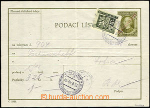 34688 - 1946 Slovak certificate of mailing for telegram CPL2 with ma