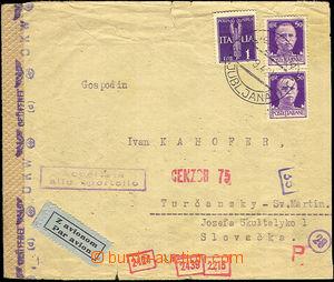 34693 - 1942 SLOVINSKO  air-mail letter sent from Ljubljana 3.9.42 t