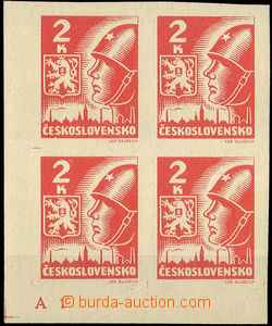 34786 - 1945 Pof.354,  Košice-issue 2 Koruna, corner blk-of-4 with
