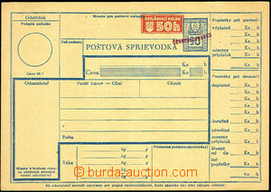 34825 - 1945 Slovak dispatch note with revenue 50h and hand-made ove