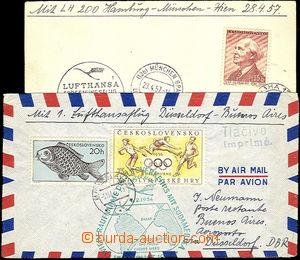 34827 - 1956-57 Czechoslovakia  2 pcs of entires sent flights Luftha