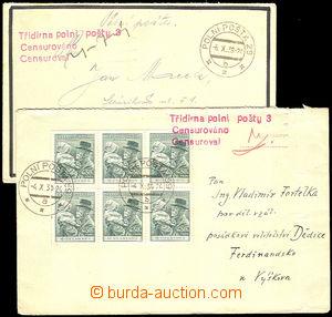 34829 - 1938 2ks obálek s červeným řádkovým raz. Třídírna p