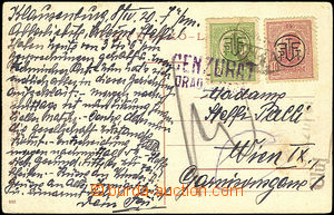 34849 - 1920 postcard franked with. overprint stamp. Mi.249, 250 add
