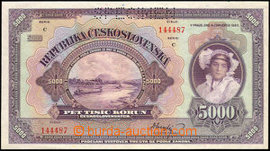 34871 - 1920 ČSR  5000Kč, kat. 19, série C, specimen, kvalita N