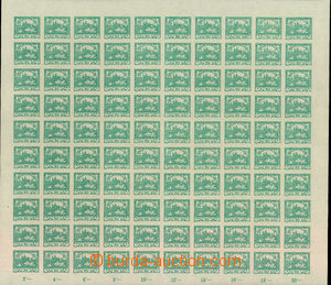 34904 -  Pof.8, 20h blue-green, complete 100-stamps sheet with margi
