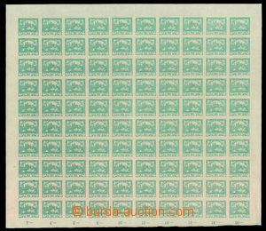 34908 -  Pof.8, 20h blue-green, complete 100-stamps sheet with margi
