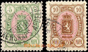 34921 - 1889 Mi.33A + 34A Coat of arms, highest value, clear postmar