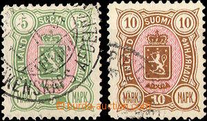 34921 - 1889 Mi.33A + 34A Znak, koncové hodnoty, čistá razítka, zbyt