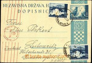 34922 - 1942 PC Mi.P2Ab, uprated with stamp Mi.2x 48, CDS Sarajevo 1