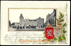 34943 - 1900 Tábor - view of square, embossed, coats of arms. Un. a