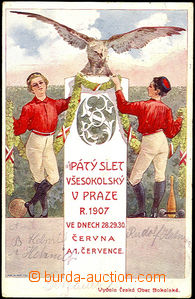 34990 - 1907 SOKOL  V. Všesokolský slet, barevná pohlednice, pro�