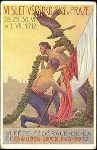 34991 - 1912 SOKOL  VI. Všesokolský slet, barevná pohlednice, pro
