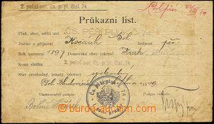 35160 - 1919 Identity sheet member Czechosl. infantry reg. No.74, li