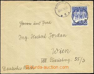 35180 - 1939 dopis do Vídně vyfr. polskou zn. 55gr, DR Cieszyn 2/