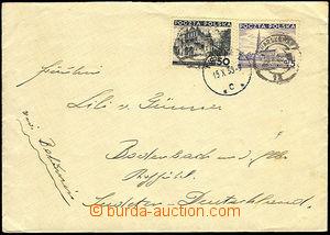 35189 - 1938 dopis do Sudet vyfr. polskými známkami 50+5gr, DR Kar