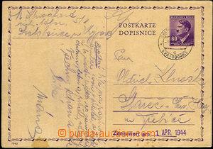 35231 - 1944 I.C. SVATOBOŘICE /K.  card sent prisoner I.C., CDS Sva