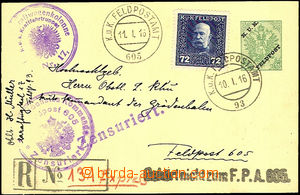 35399 - 1916 p.stat FP card uprated with stamp 72h, Mi.FP 40, sent a