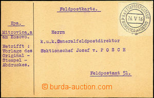 35406 - 1916 card sent to Gen. director FP with mounted cut-square c