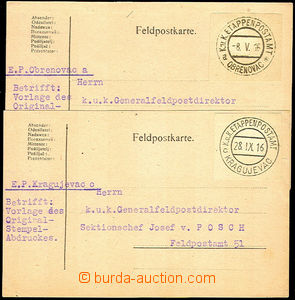 35409 - 1916 2 pcs of cards sent to Gen. director FP with mounted cu