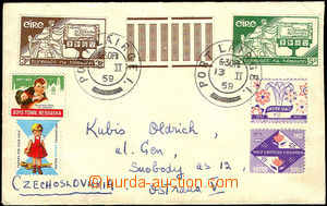 35435 - 1959 letter addressed to to Czechoslovakia, with Mi.140, 141
