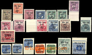 35492 - 1938 Rumburk  selection of 21 pcs of stamps with Rumburk ove